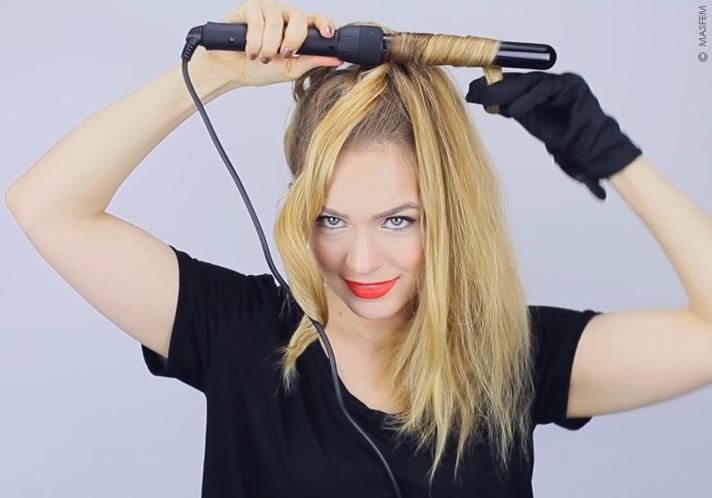 видео как накрутить волосы на утюжок
