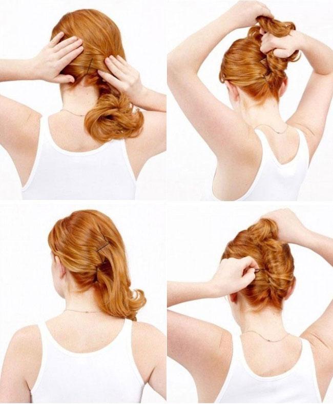 Прическа валик на средние волосы своими руками 29