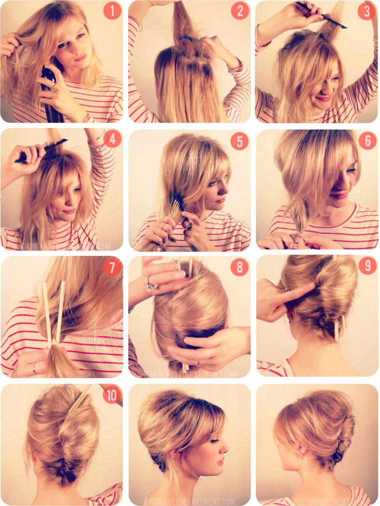 Прическа для волос с валиком