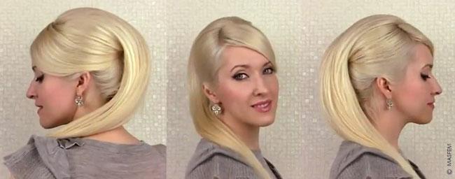 Причёски с накладными прямыми волосами